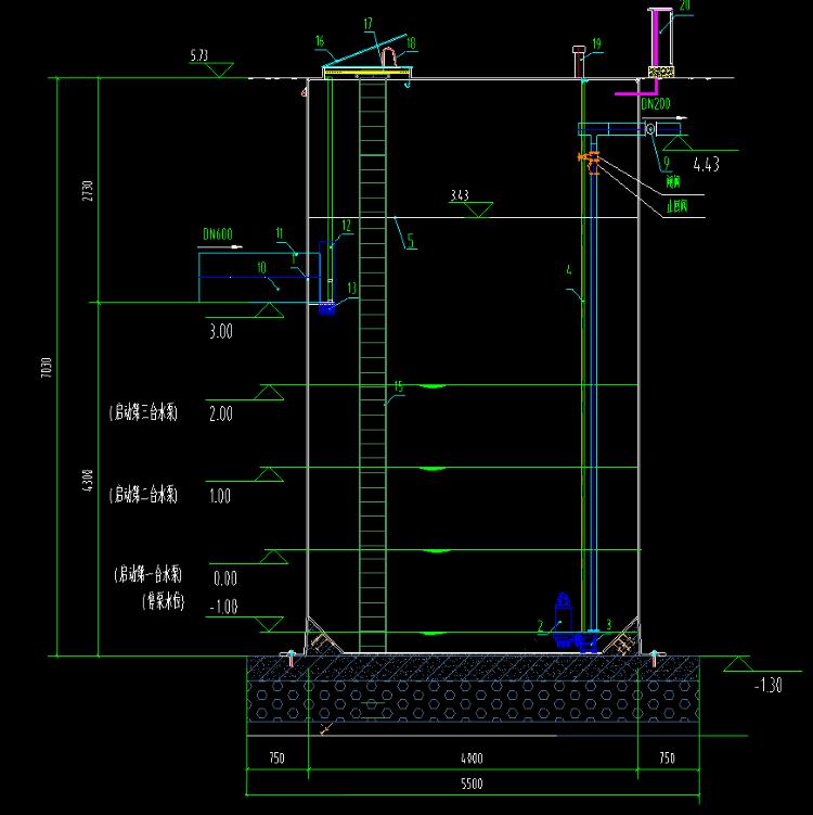600m3/日一体化污水提升泵站平面图展示